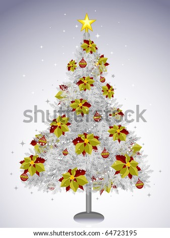White Christmas Tree with Decorations - stock vector
