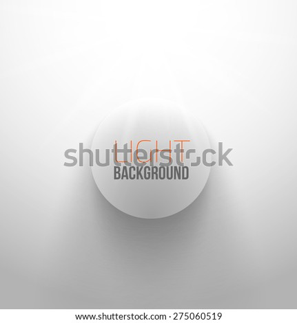 White circle button with light and shadow. Vector illustration - stock vector