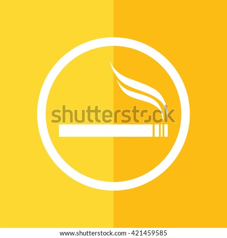 White circle cigarette vector icon. Allowed smoking sign. Yellow background - stock vector
