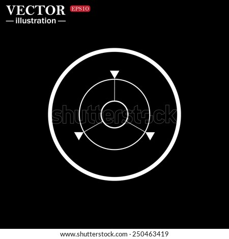 White circle on a black background. GPS navigation,  vector illustration, EPS 10