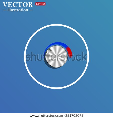 White circle on a blue background. metal volume control, red, blue, light, vector illustration, EPS 10 - stock vector
