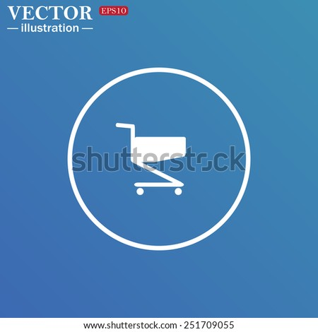 White circle on a blue background. Shoping basket , vector illustration, EPS 10
