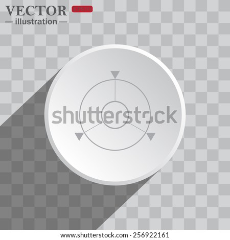 White circle on a gray background with shadow. icon,   GPS navigation,  vector illustration, EPS 10 - stock vector