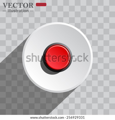 White circle on a gray background with shadow. icon,   Red button start, stop. Vector illustration, EPS 10 - stock vector