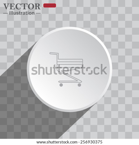 White circle on a gray background with shadow. icon,   Shoping basket , vector illustration, EPS 10