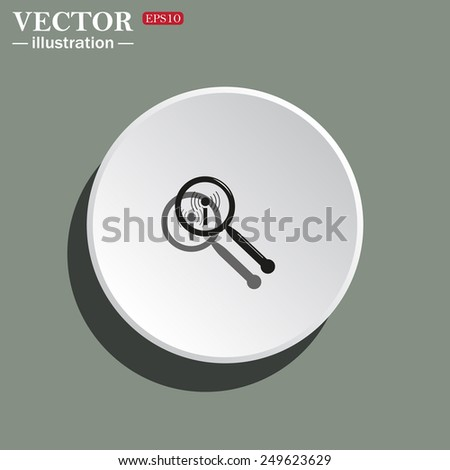 White circle on a green background with shadow. Search wi-fi network , vector illustration, EPS 10 - stock vector