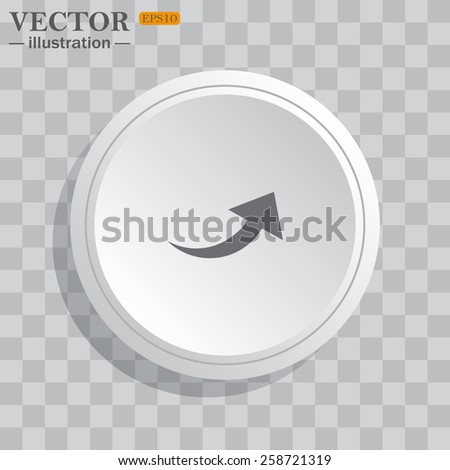 White circle, white button on a gray background with shadow. Grey icon on white.  arrow indicates the direction, vector illustration, EPS 10 - stock vector