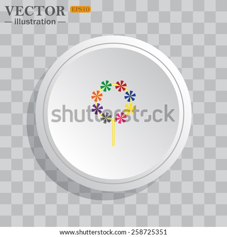 White circle, white button on a gray background with shadow. Grey icon on white.  Children's toy wind mill, turntables, pinwheel wind vane, vector illustration, EPS 10 - stock vector