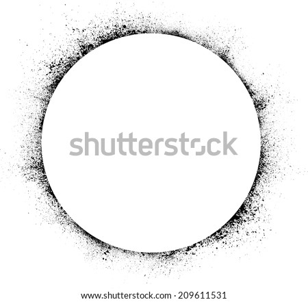 White circle with black ink blots. eps10 - stock vector