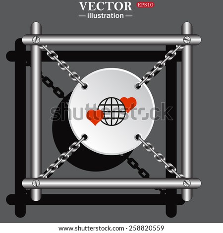 White circle with chains on a gray background.  Icon planet and two red hearts. Symbol of love between the nation. Globe.  vector illustration, EPS 10  - stock vector