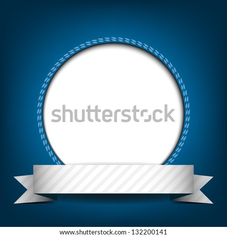 White circle with place for text or image on blue background. Vector version. - stock vector