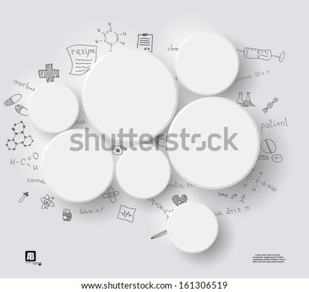White circles on gray background with medical formulas - stock vector