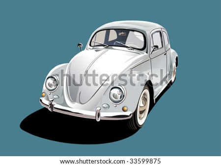white classic car, illustration - stock vector