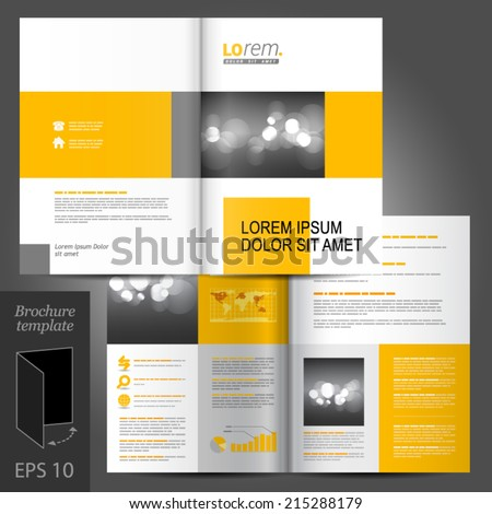 Flyer template stock images royalty free images vectors white classic vector brochure template design with yellow geometric elements pronofoot35fo Gallery