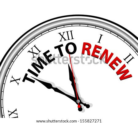 White clock with words Time to renew on its face - stock vector