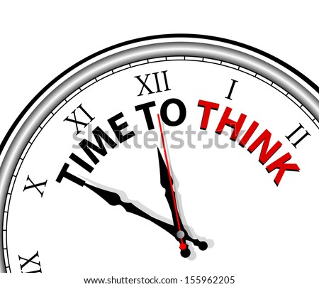 White clock with words Time to think on its face - stock vector