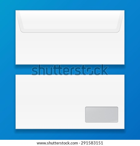 White Closed Blank Envelope. Illustration On Blue Background. Mock Up Template Ready For Your Design. Vector EPS10 - stock vector