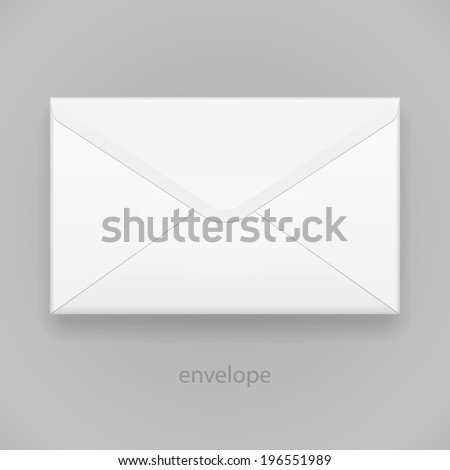White Closed Blank Envelope Isolated On Gray Background. Ready For Your Design. Product Packing Vector EPS10 - stock vector