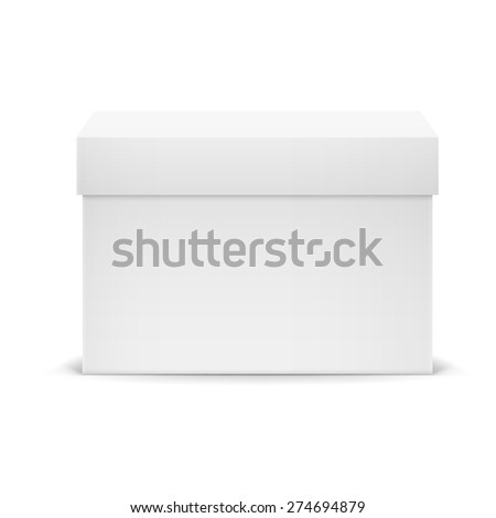 White closed cardboard box isolated on white background - stock vector
