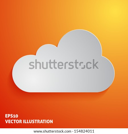 White cloud icon on orange background. Vector illustration - stock vector