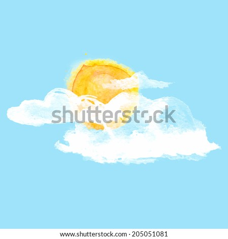 White clouds and sun on a blue clear sky in watercolor style - stock vector