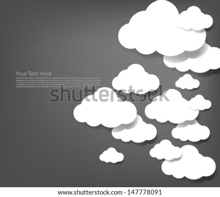 White Clouds Gray Background - stock vector