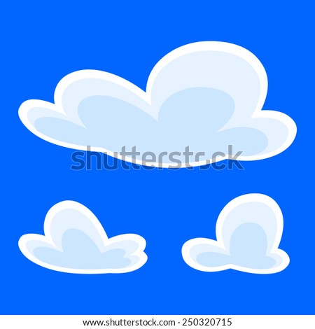 white clouds on a blue background - stock vector