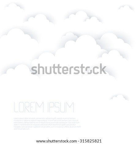 White clouds on white background - stock vector
