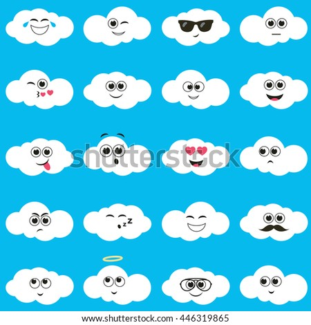 white clouds with smiley faces