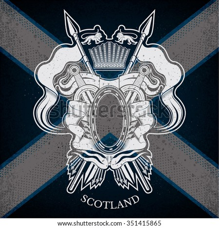 White Coat of Arms With oval Frame and Vintage Weapons on Scotland Flag Background. Brand or T-shirt style - stock vector