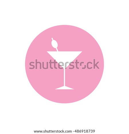 White cocktail glass icon vector illustration. Pink button. Pink circle