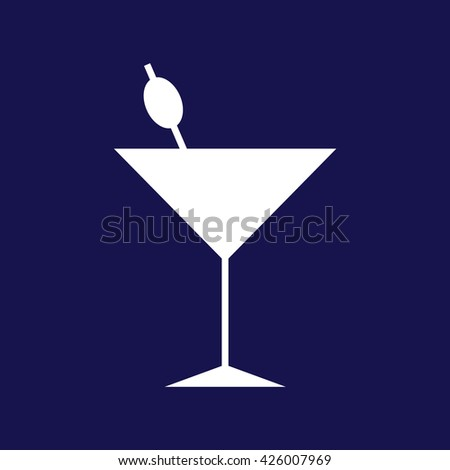 White cocktail glass vector icon illustration. Blue background