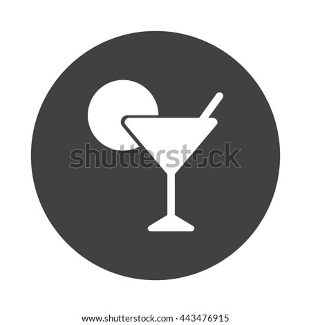 White Cocktail icon on black button isolated on white