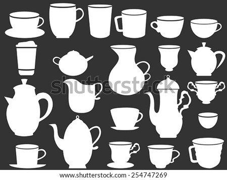 white coffee and tea cups silhouettes - stock vector