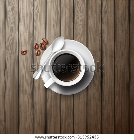 White coffee cup on wooden board, realistic vector illustration.