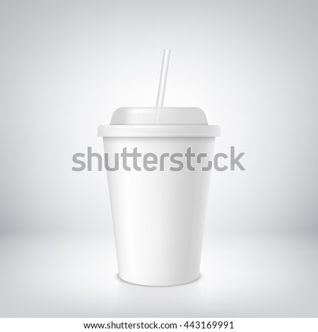 white coffee or soda cup with straw. vector take away cup