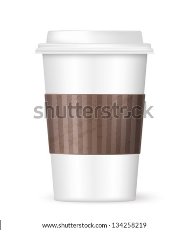 white coffee to go cup - stock vector