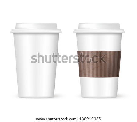 white coffee to go two cups - stock vector