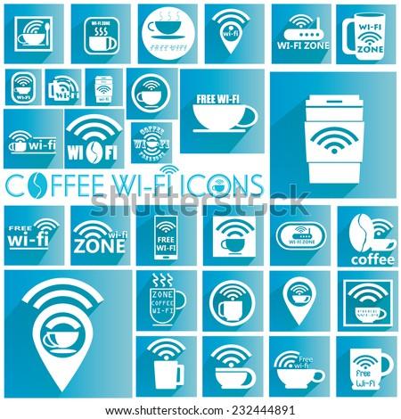 White coffee WIFI icons  - stock vector