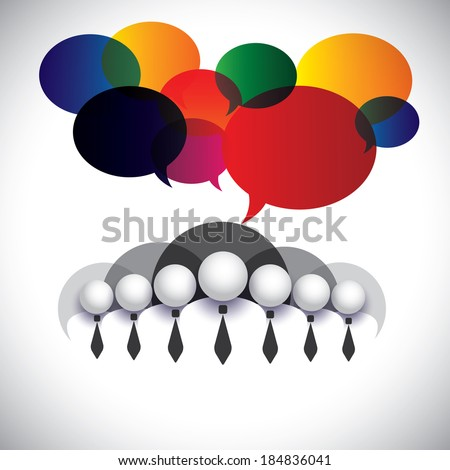 white collar employees communication, interaction - concept vector. The graphic also shows people conference, social media network, executives & management, company board members, corporate people - stock vector