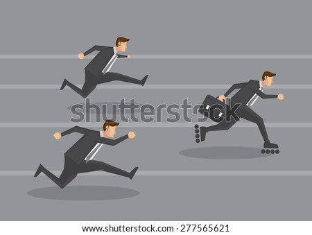White collar workers in black suit racing on running track and a smart one carrying briefcase gets ahead by wearing inline skates. Creative vector cartoon illustration for business concept. - stock vector