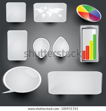 White collection of brightly colored, glossy web elements Perfect for adding your own text or icons. Blends used to create drop shadow effect. - stock vector