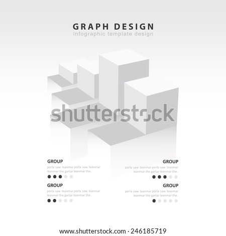 White color Infographics vector design template. 3D Charts diagram graph.