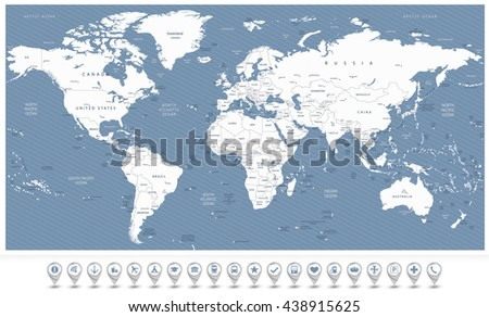 White color World Map and 3D navigation icons.All elements are separated in editable layers clearly labeled. - stock vector