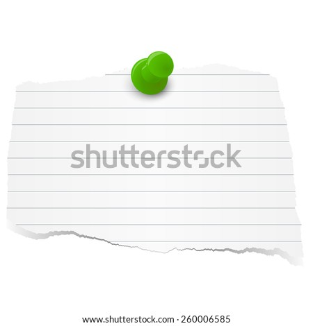 white colored lined scrap of paper with pin needle - stock vector