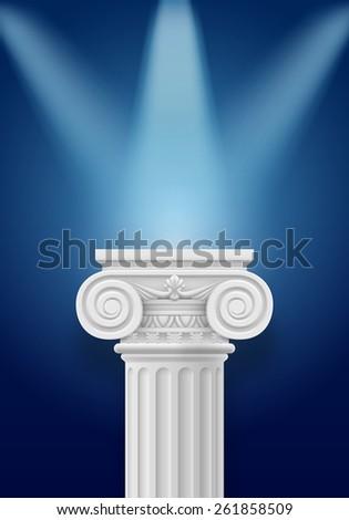 White column illumination projectors on darkblue background - stock vector