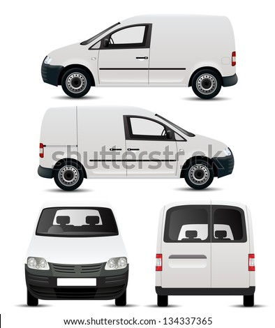 White Commercial Vehicle - Van - stock vector