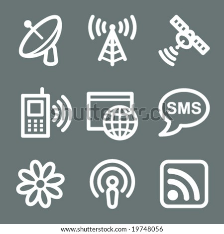 White communication web icons V2 - stock vector