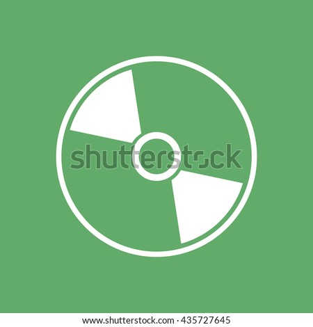White compact disc icon. CD / DVD vector illustration. Green background - stock vector