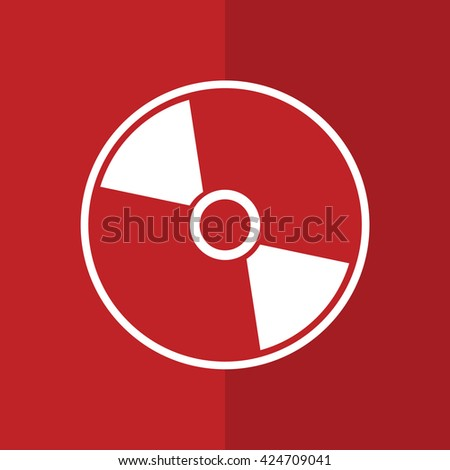 White compact disc icon. CD / DVD vector illustration. Red background - stock vector